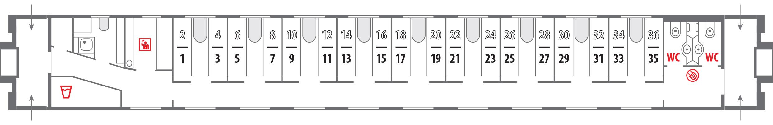 Схема расположения мест в сидячем вагон
